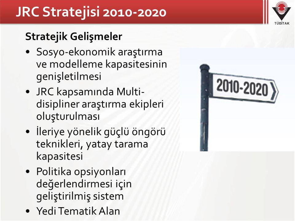 TÜBİTAK JRC Stratejisi 2010-2020 Stratejik Gelişmeler Sosyo-ekonomik araştırma ve modelleme kapasitesinin genişletilmesi JRC kapsamında Multi- disipliner araştırma ekipleri oluşturulması İleriye yönelik güçlü öngörü teknikleri, yatay tarama kapasitesi Politika opsiyonları değerlendirmesi için geliştirilmiş sistem Yedi Tematik Alan