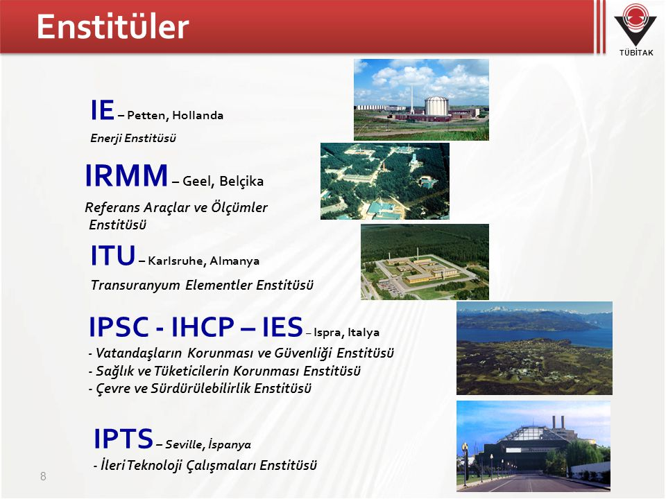 TÜBİTAK Enstitüler 8 IE – Petten, Hollanda Enerji Enstitüsü IRMM – Geel, Belçika Referans Araçlar ve Ölçümler Enstitüsü ITU – Karlsruhe, Almanya Transuranyum Elementler Enstitüsü IPSC - IHCP – IES – Ispra, Italya - Vatandaşların Korunması ve Güvenliği Enstitüsü - Sağlık ve Tüketicilerin Korunması Enstitüsü - Çevre ve Sürdürülebilirlik Enstitüsü IPTS – Seville, İspanya - İleri Teknoloji Çalışmaları Enstitüsü