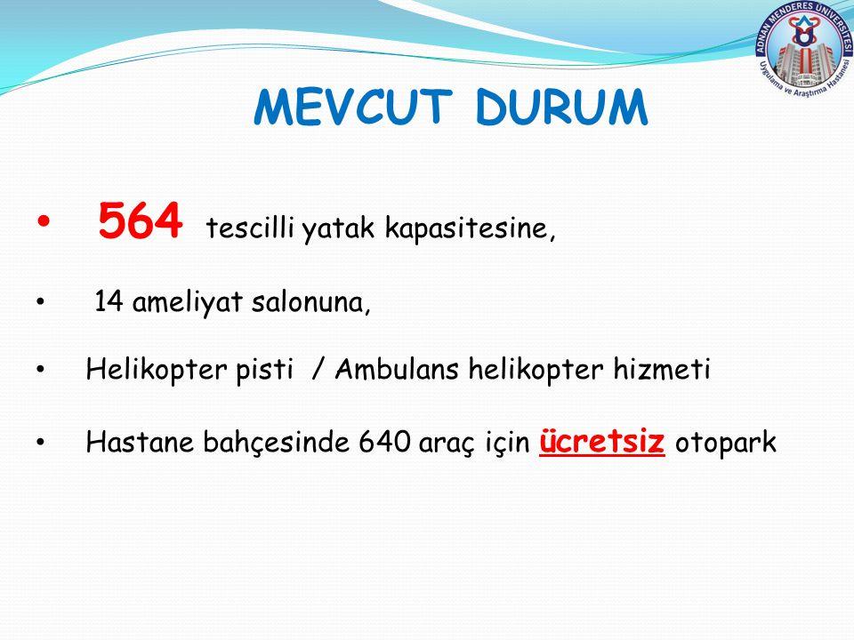 MEVCUT DURUM 564 tescilli yatak kapasitesine, 14 ameliyat salonuna, Helikopter pisti / Ambulans helikopter hizmeti Hastane bahçesinde 640 araç için üc