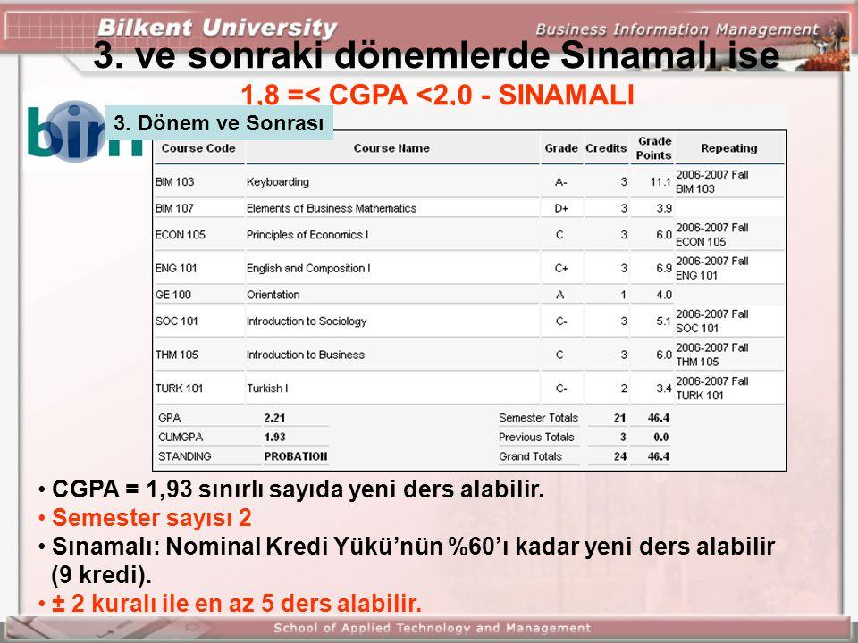 3. ve sonraki dönemlerde Sınamalı ise 1,8 =< CGPA <2,0 - SINAMALI CGPA = 1,93 sınırlı sayıda yeni ders alabilir. Semester sayısı 2 Sınamalı: Nominal K