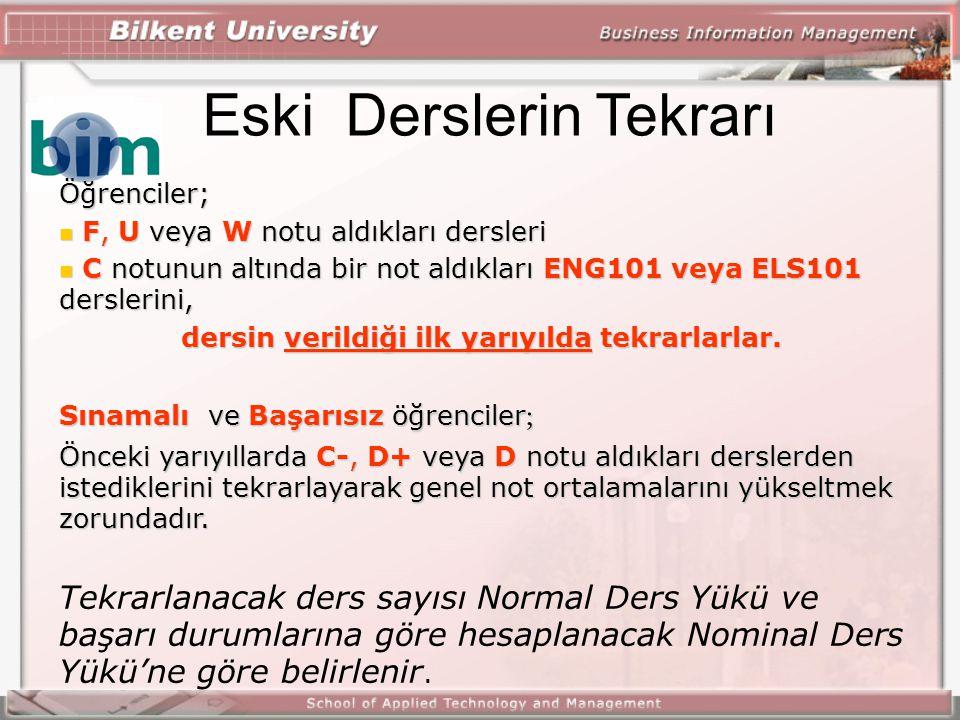 Normal Ders yükü Normal ders yükü (NDY): O dönem için programdaki ders sayısı Ders adedi olarak ifade ediliyor Her dönem için farklı olabiliyor Azami ders yükü = NDY + 2 ders Asgari ders yükü = NDY - 2 ders Mezuniyet durumundaki öğrenciler için: Azami ders yükü = NDY + 2 ders + 1 ders Dekan/müdür onayı ile!