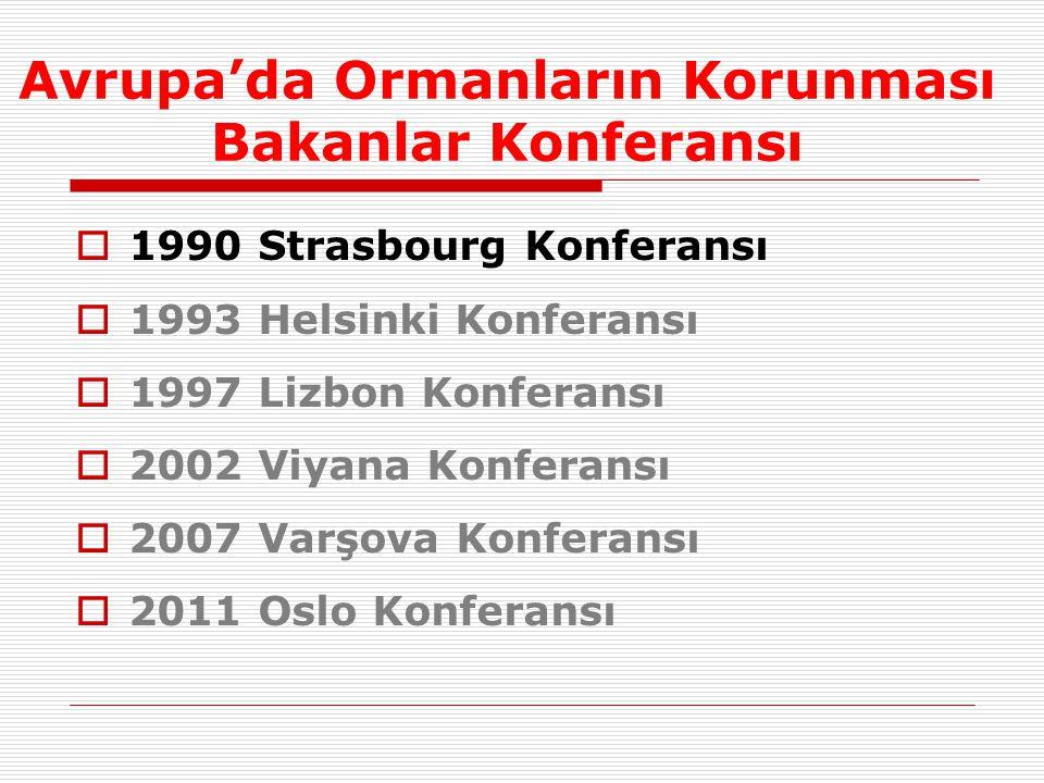 Avrupa'da Ormanların Korunması Bakanlar Konferansı  1990 Strasbourg Konferansı  1993 Helsinki Konferansı  1997 Lizbon Konferansı  2002 Viyana Konferansı  2007 Varşova Konferansı  2011 Oslo Konferansı