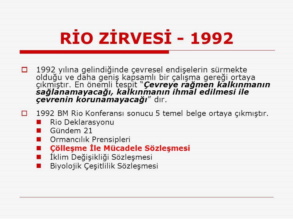 RİO ZİRVESİ - 1992  1992 yılına gelindiğinde çevresel endişelerin sürmekte olduğu ve daha geniş kapsamlı bir çalışma gereği ortaya çıkmıştır.
