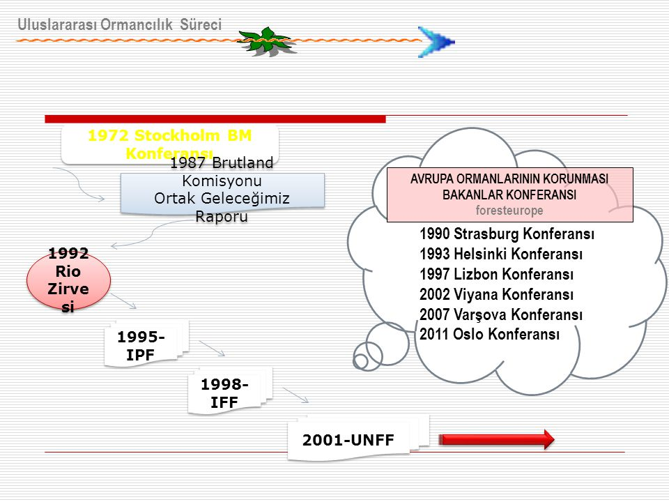 Uluslararası Ormancılık Süreci 1972 Stockholm BM Konferansı 1987 Brutland Komisyonu Ortak Geleceğimiz Raporu 1987 Brutland Komisyonu Ortak Geleceğimiz Raporu 1992 Rio Zirve si 1995- IPF 1998- IFF 2001-UNFF 1990 Strasburg Konferansı 1993 Helsinki Konferansı 1997 Lizbon Konferansı 2002 Viyana Konferansı 2007 Varşova Konferansı 2011 Oslo Konferansı AVRUPA ORMANLARININ KORUNMASI BAKANLAR KONFERANSI foresteurope