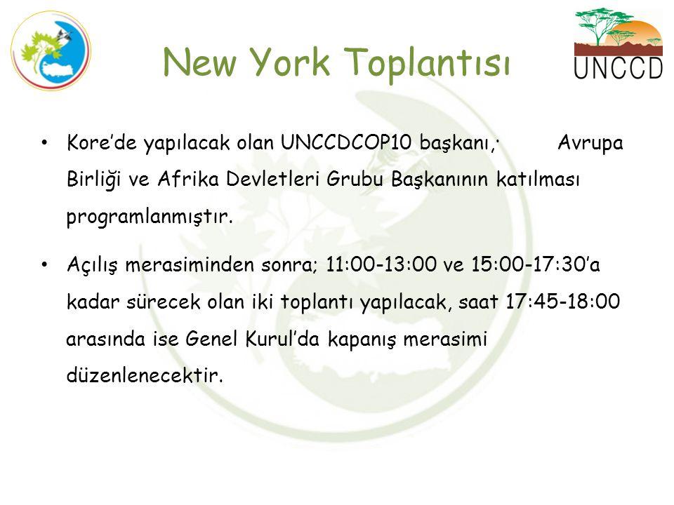 New York Toplantısı Kore'de yapılacak olan UNCCDCOP10 başkanı,· Avrupa Birliği ve Afrika Devletleri Grubu Başkanının katılması programlanmıştır. Açılı