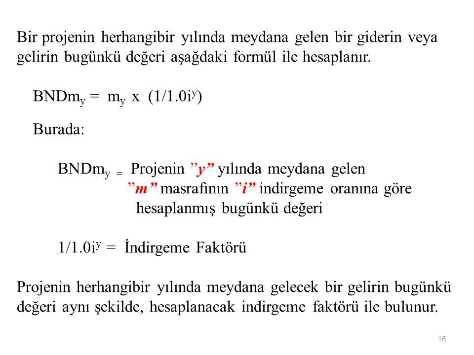 Bir projenin herhangibir yılında meydana gelen bir giderin veya gelirin bugünkü değeri aşağdaki formül ile hesaplanır. BNDm y = m y x (1/1.0i y ) Bura