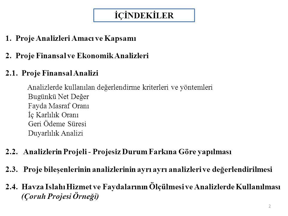 İÇİNDEKİLER 1. Proje Analizleri Amacı ve Kapsamı 2. Proje Finansal ve Ekonomik Analizleri 2.1. Proje Finansal Analizi Analizlerde kullanılan değerlend