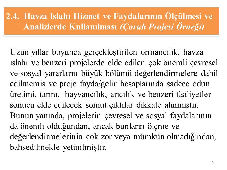 2.4. Havza Islahı Hizmet ve Faydalarının Ölçülmesi ve Analizlerde Kullanılması (Çoruh Projesi Örneği) Uzun yıllar boyunca gerçekleştirilen ormancılık,