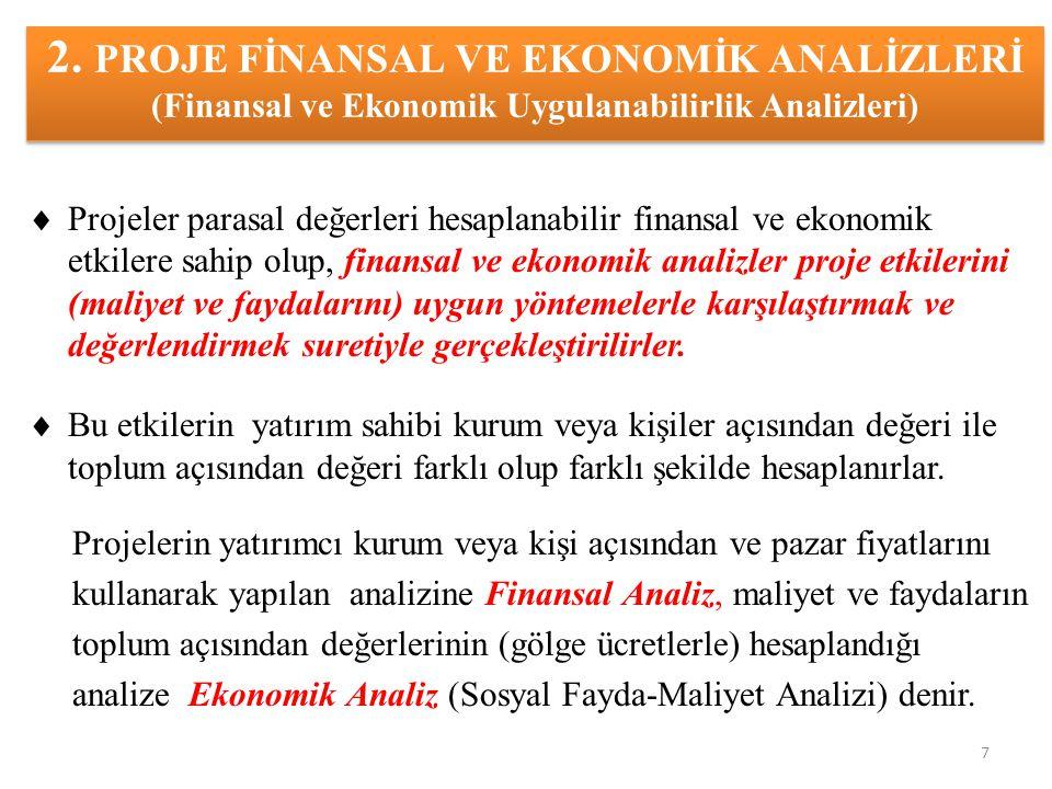 2. PROJE FİNANSAL VE EKONOMİK ANALİZLERİ (Finansal ve Ekonomik Uygulanabilirlik Analizleri)  Projeler parasal değerleri hesaplanabilir finansal ve ek