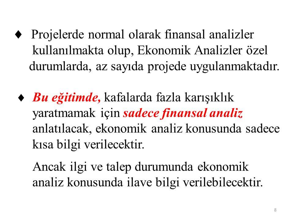 Projelerde normal olarak finansal analizler kullanılmakta olup, Ekonomik Analizler özel durumlarda, az sayıda projede uygulanmaktadır.  Bu eğitimde