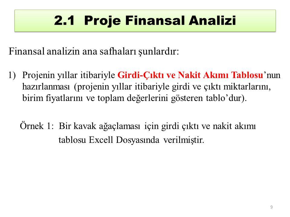 2.1 Proje Finansal Analizi Finansal analizin ana safhaları şunlardır: 1)Projenin yıllar itibariyle Girdi-Çıktı ve Nakit Akımı Tablosu'nun hazırlanması