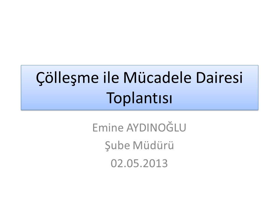 Çölleşme ile Mücadele Dairesi Toplantısı Emine AYDINOĞLU Şube Müdürü 02.05.2013