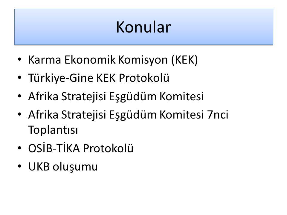 Konular Karma Ekonomik Komisyon (KEK) Türkiye-Gine KEK Protokolü Afrika Stratejisi Eşgüdüm Komitesi Afrika Stratejisi Eşgüdüm Komitesi 7nci Toplantısı