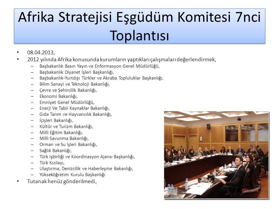 Afrika Stratejisi Eşgüdüm Komitesi 7nci Toplantısı 08.04.2013, 2012 yılında Afrika konusunda kurumların yaptıkları çalışmaları değerlendirmek, – Başba