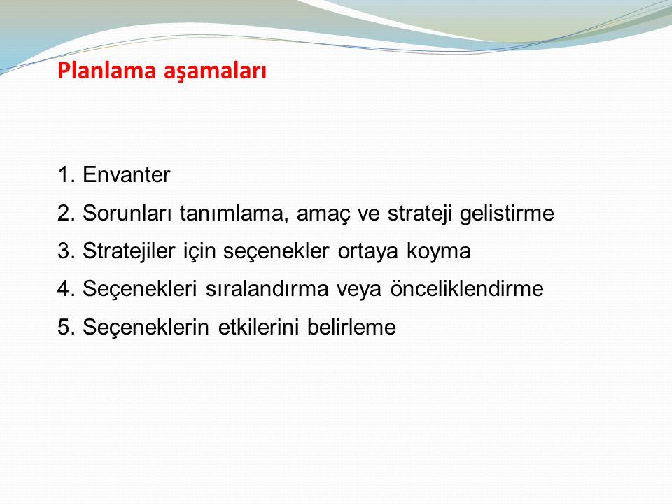Planlama aşamaları 1.Envanter 2.Sorunları tanımlama, amaç ve strateji gelistirme 3.Stratejiler için seçenekler ortaya koyma 4.Seçenekleri sıralandırma