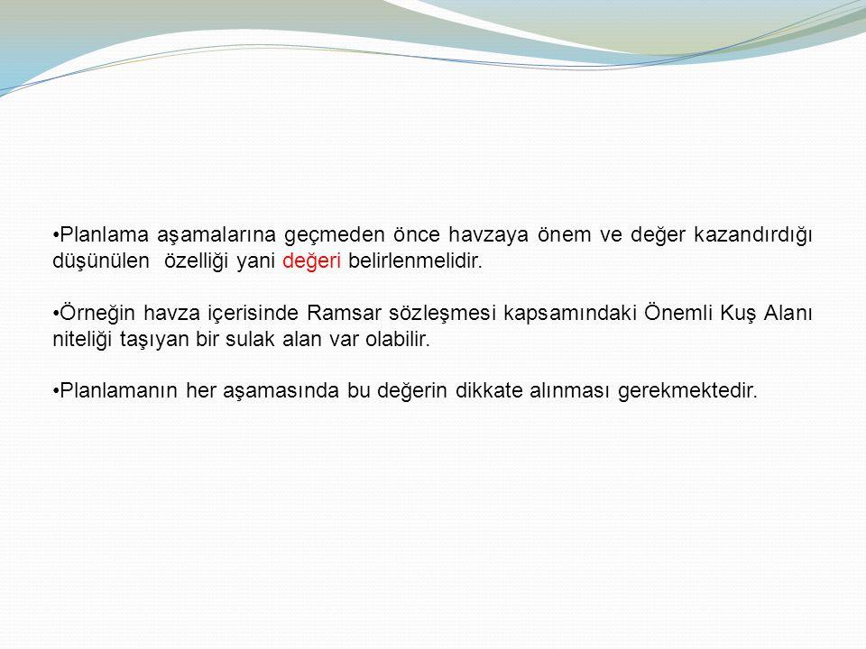 Planlama aşamalarına geçmeden önce havzaya önem ve değer kazandırdığı düşünülen özelliği yani değeri belirlenmelidir. Örneğin havza içerisinde Ramsar