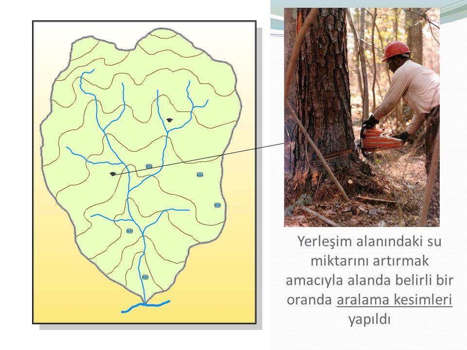 Yerleşim alanındaki su miktarını artırmak amacıyla alanda belirli bir oranda aralama kesimleri yapıldı