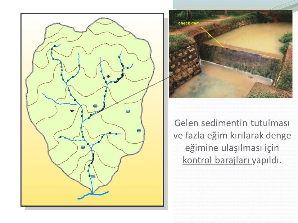 Gelen sedimentin tutulması ve fazla eğim kırılarak denge eğimine ulaşılması için kontrol barajları yapıldı.