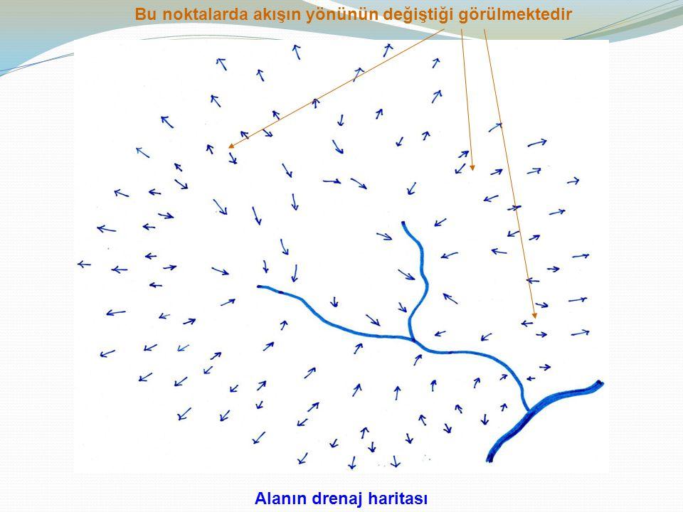 Alanın drenaj haritası Bu noktalarda akışın yönünün değiştiği görülmektedir