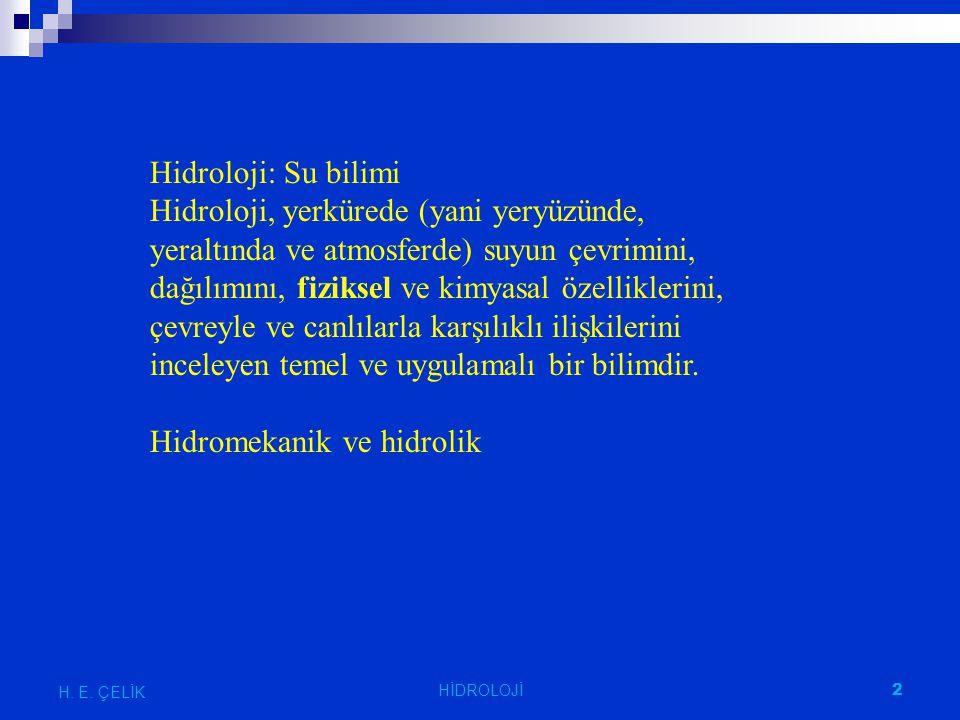 Yamaç ıslahı H. E. ÇELİK 3 HİDROLOJİ
