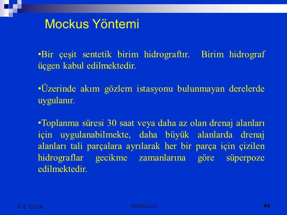 Mockus Yöntemi Bir çeşit sentetik birim hidrograftır. Birim hidrograf üçgen kabul edilmektedir. Üzerinde akım gözlem istasyonu bulunmayan derelerde uy
