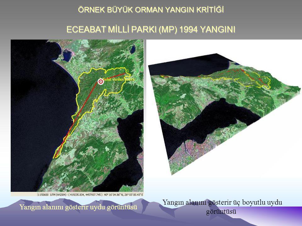 ÖRNEK BÜYÜK ORMAN YANGIN KRİTİĞİ ECEABAT MİLLİ PARKI (MP) 1994 YANGINI Yangın alanını gösterir üç boyutlu uydu görüntüsü Yangın alanını gösterir uydu görüntüsü