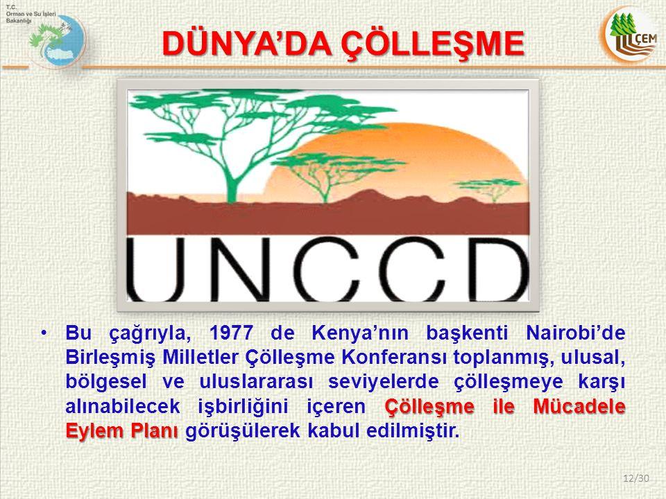 Çölleşme ile Mücadele Eylem PlanıBu çağrıyla, 1977 de Kenya'nın başkenti Nairobi'de Birleşmiş Milletler Çölleşme Konferansı toplanmış, ulusal, bölgese
