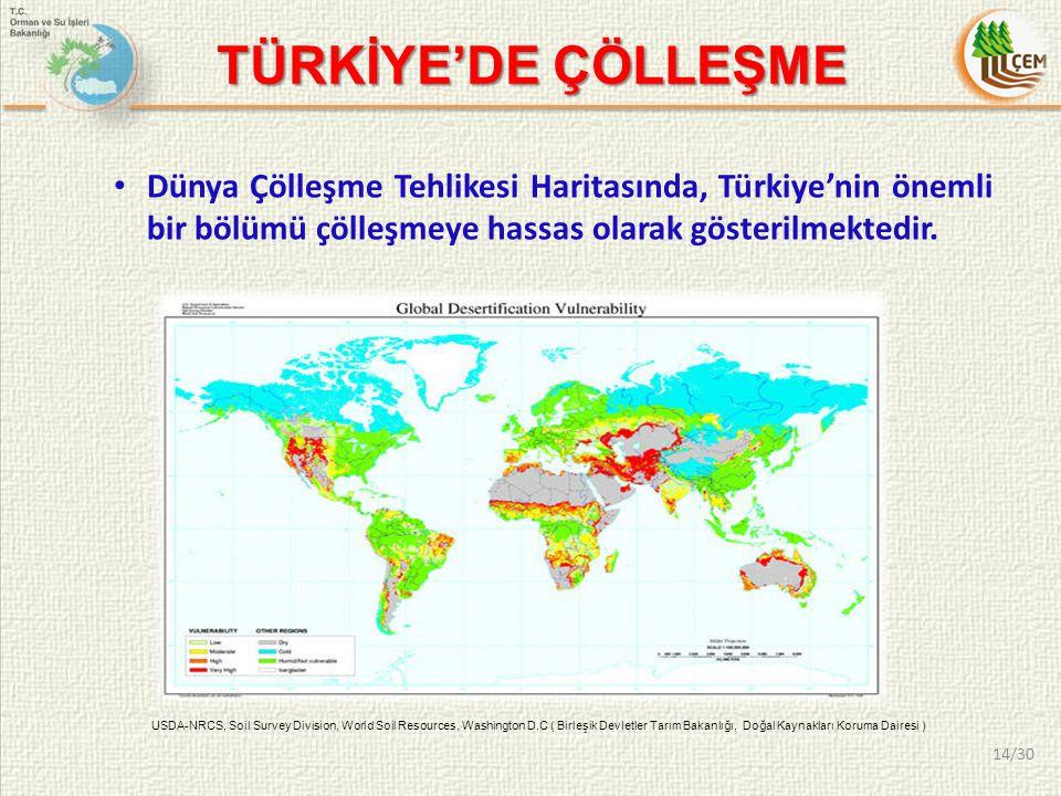 TÜRKİYE'DE ÇÖLLEŞME Dünya Çölleşme Tehlikesi Haritasında, Türkiye'nin önemli bir bölümü çölleşmeye hassas olarak gösterilmektedir. USDA-NRCS, Soil Sur