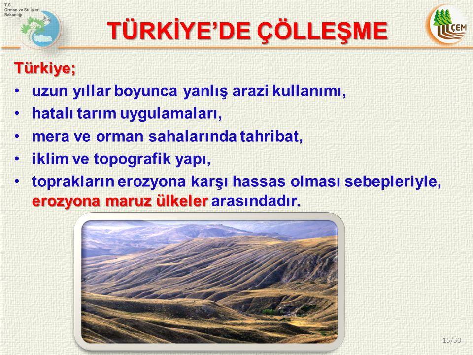 Türkiye; uzun yıllar boyunca yanlış arazi kullanımı, hatalı tarım uygulamaları, mera ve orman sahalarında tahribat, iklim ve topografik yapı, erozyona