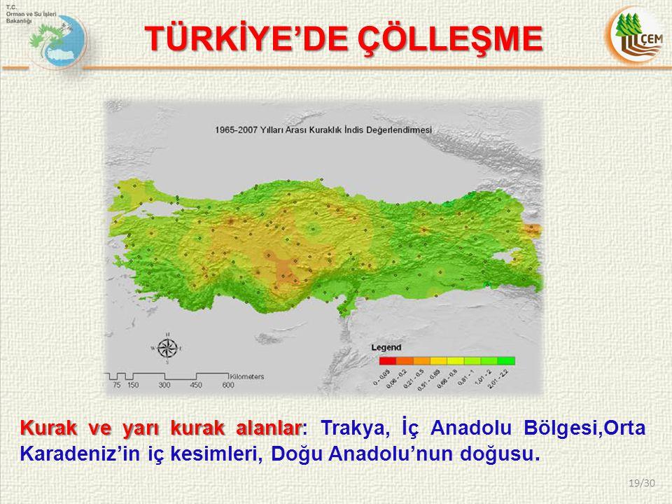 Kurak ve yarı kurak alanlar Kurak ve yarı kurak alanlar: Trakya, İç Anadolu Bölgesi,Orta Karadeniz'in iç kesimleri, Doğu Anadolu'nun doğusu. TÜRKİYE'D