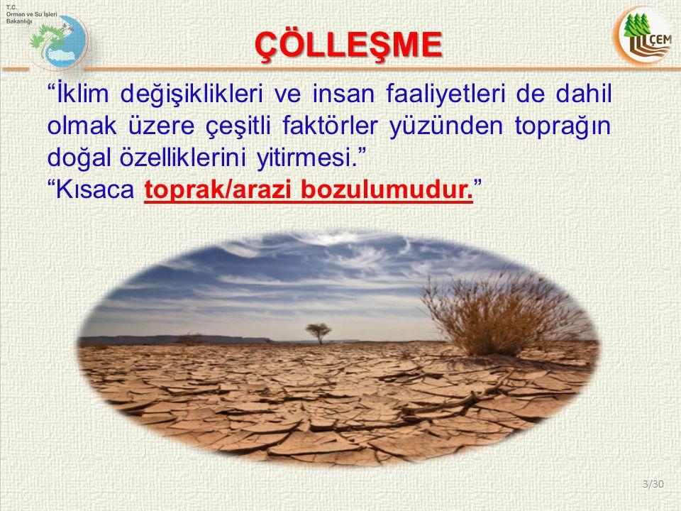 DOĞAL NEDENLER Toprak aşınımı (su ve rüzgar erozyonu, kumul hareketleri).