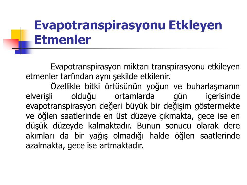 Evapotranspirasyonu Etkleyen Etmenler Evapotranspirasyon miktarı transpirasyonu etkileyen etmenler tarfından aynı şekilde etkilenir. Özellikle bitki ö