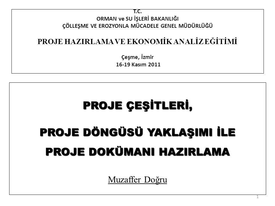 T.C. ORMAN ve SU İŞLERİ BAKANLIĞI ÇÖLLEŞME VE EROZYONLA MÜCADELE GENEL MÜDÜRLÜĞÜ PROJE HAZIRLAMA VE EKONOMİK ANALİZ EĞİTİMİ Çeşme, İzmir 16-19 Kasım 2