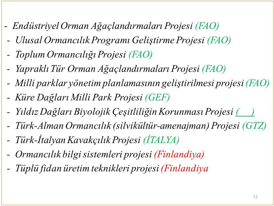 - Endüstriyel Orman Ağaçlandırmaları Projesi (FAO) - Ulusal Ormancılık Programı Geliştirme Projesi (FAO) - Toplum Ormancılığı Projesi (FAO) - Yapraklı
