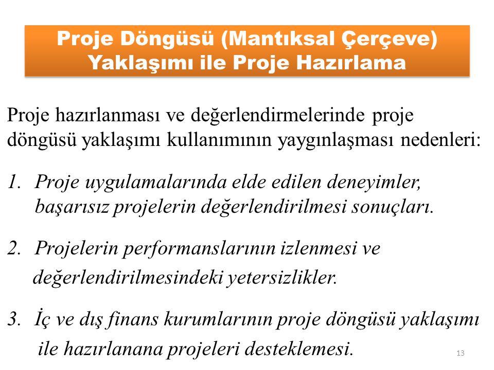 Proje Döngüsü (Mantıksal Çerçeve) Yaklaşımı ile Proje Hazırlama Proje hazırlanması ve değerlendirmelerinde proje döngüsü yaklaşımı kullanımının yaygın