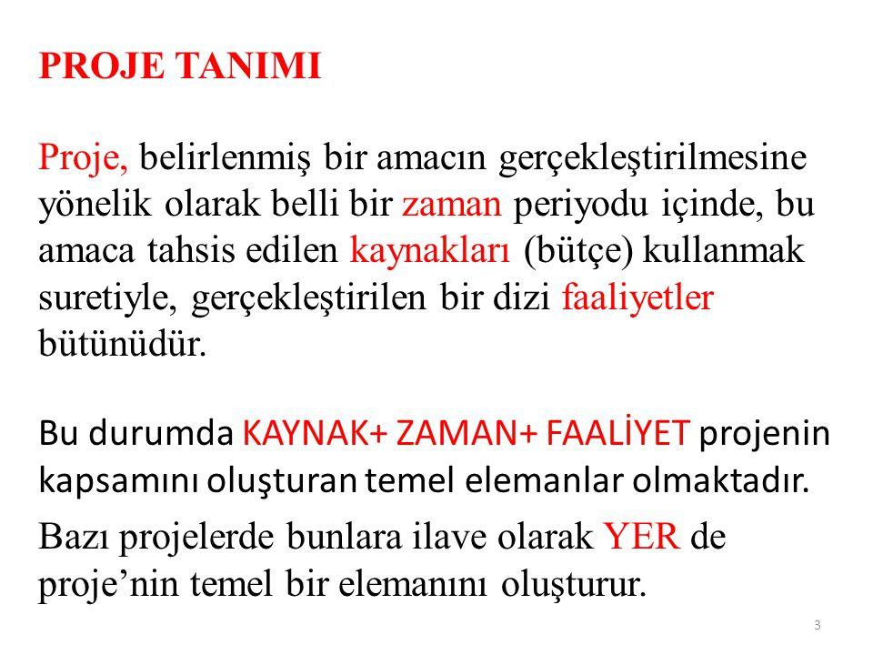 PROJE TANIMI Proje, belirlenmiş bir amacın gerçekleştirilmesine yönelik olarak belli bir zaman periyodu içinde, bu amaca tahsis edilen kaynakları (büt