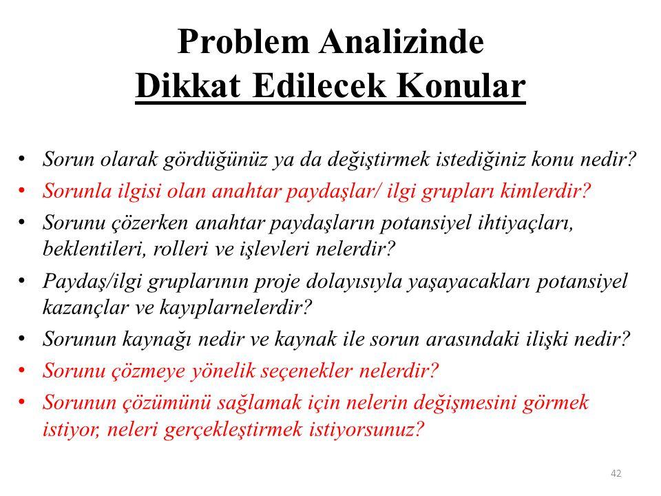 Problem Analizinde Dikkat Edilecek Konular Sorun olarak gördüğünüz ya da değiştirmek istediğiniz konu nedir? Sorunla ilgisi olan anahtar paydaşlar/ il