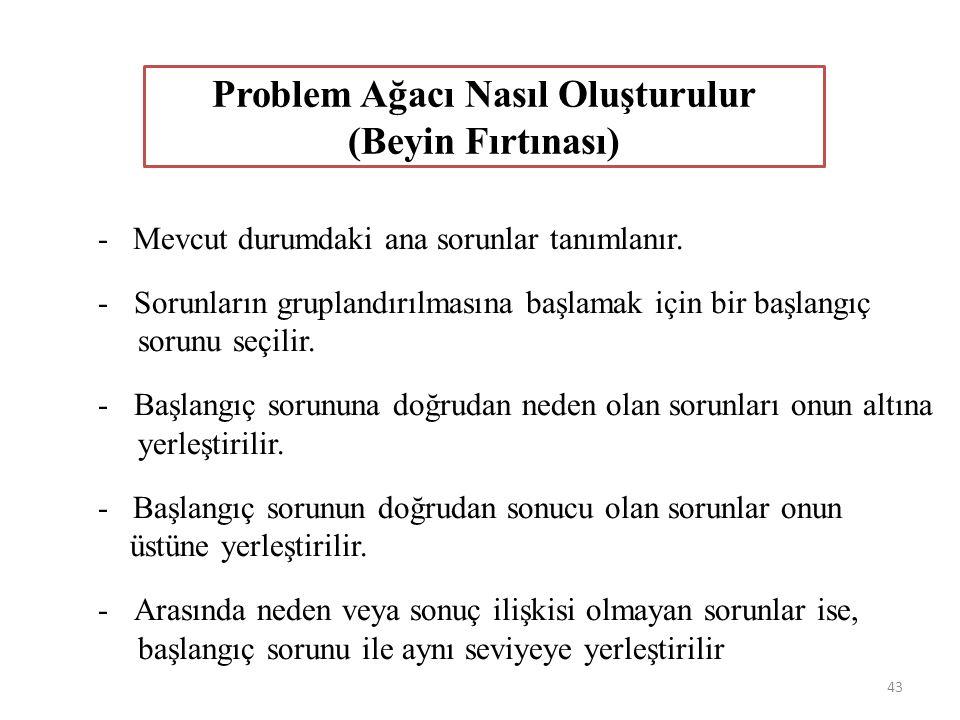 - Mevcut durumdaki ana sorunlar tanımlanır. -Sorunların gruplandırılmasına başlamak için bir başlangıç sorunu seçilir. -Başlangıç sorununa doğrudan ne