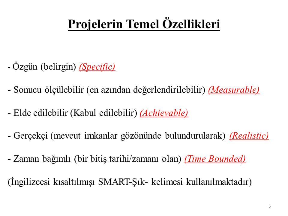 Projelerin Temel Özellikleri - Özgün (belirgin) (Specific) - Sonucu ölçülebilir (en azından değerlendirilebilir) (Measurable) - Elde edilebilir (Kabul