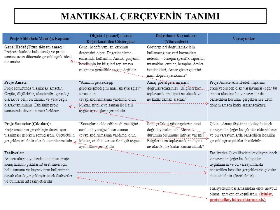 MANTIKSAL ÇERÇEVENİN TANIMI Proje Müdahele Mantığı, Kapsamı Objektif (nesnel) olarak Doğrulanabilen Göstergeler Doğrulama Kaynakları (Yöntemleri ) Var