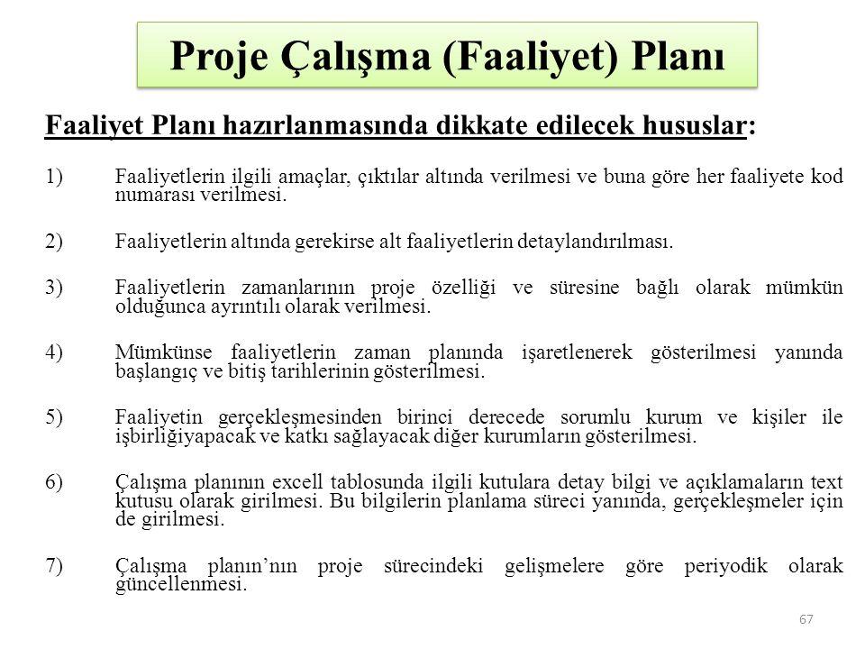 Proje Çalışma (Faaliyet) Planı Faaliyet Planı hazırlanmasında dikkate edilecek hususlar: 1)Faaliyetlerin ilgili amaçlar, çıktılar altında verilmesi ve