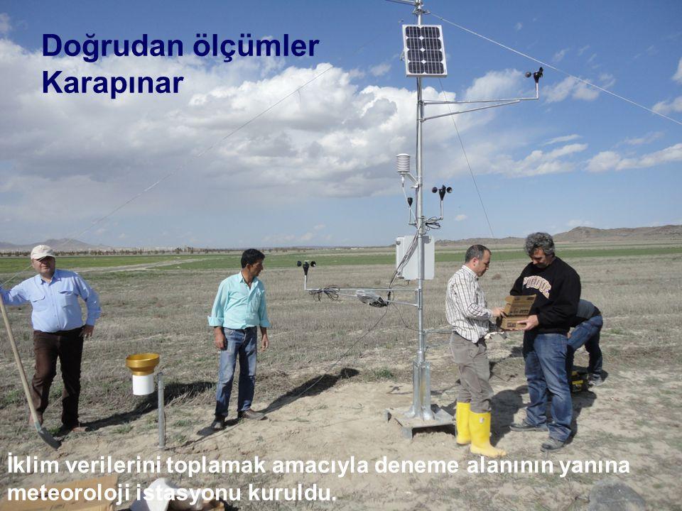 Doğrudan ölçümler Karapınar İklim verilerini toplamak amacıyla deneme alanının yanına meteoroloji istasyonu kuruldu.