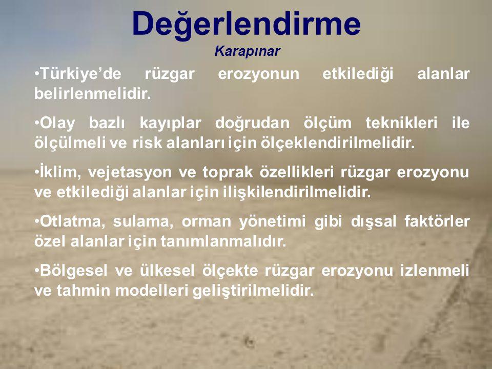 Değerlendirme Karapınar Türkiye'de rüzgar erozyonun etkilediği alanlar belirlenmelidir. Olay bazlı kayıplar doğrudan ölçüm teknikleri ile ölçülmeli ve