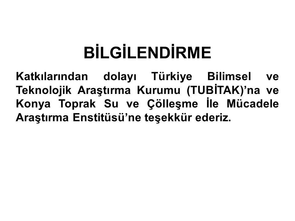 BİLGİLENDİRME Katkılarından dolayı Türkiye Bilimsel ve Teknolojik Araştırma Kurumu (TUBİTAK)'na ve Konya Toprak Su ve Çölleşme İle Mücadele Araştırma
