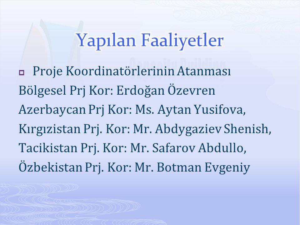  Proje Koordinatörlerinin Atanması Bölgesel Prj Kor: Erdoğan Özevren Azerbaycan Prj Kor: Ms. Aytan Yusifova, Kırgızistan Prj. Kor: Mr. Abdygaziev She
