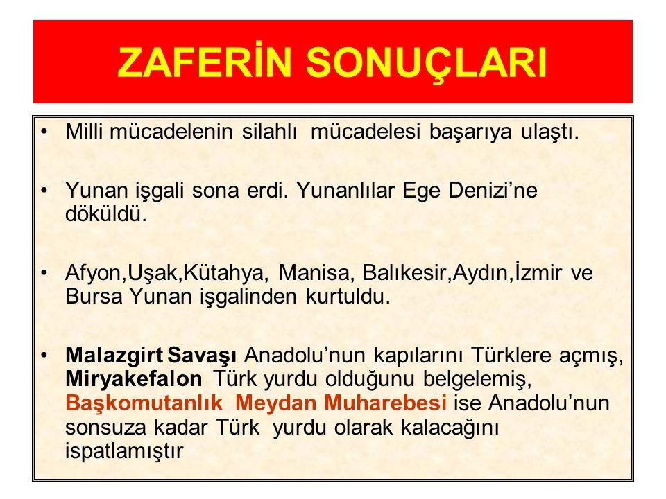 Büyük Taarruz ve ZAFER 26 Ağustos 1922 sabahı Mustafa Kemal'in Kocatepe'den verdiği emirle Büyük Taarruz başladı. 30 Ağustos 1922'de Dumlupınar Meydan