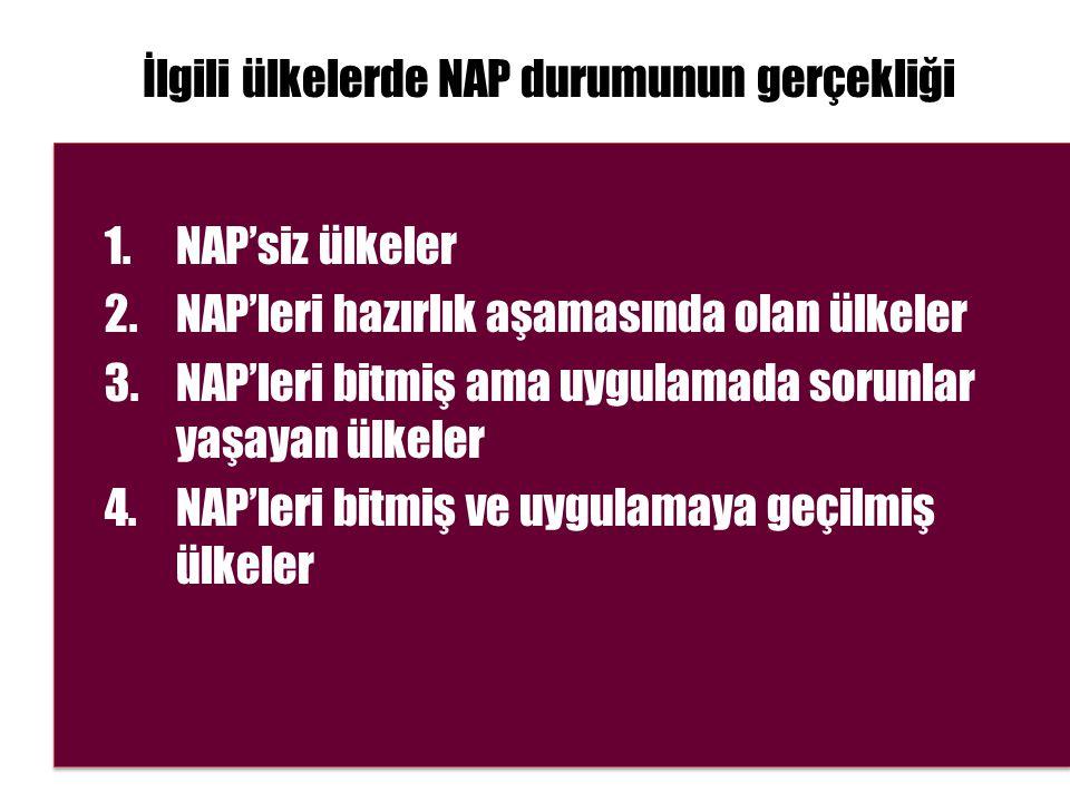 İlgili ülkelerde NAP durumunun gerçekliği