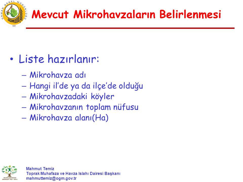 Mahmut Temiz Toprak Muhafaza ve Havza Islahı Dairesi Başkanı mahmuttemiz@ogm.gov.tr Liste hazırlanır: – Mikrohavza adı – Hangi il'de ya da ilçe'de old