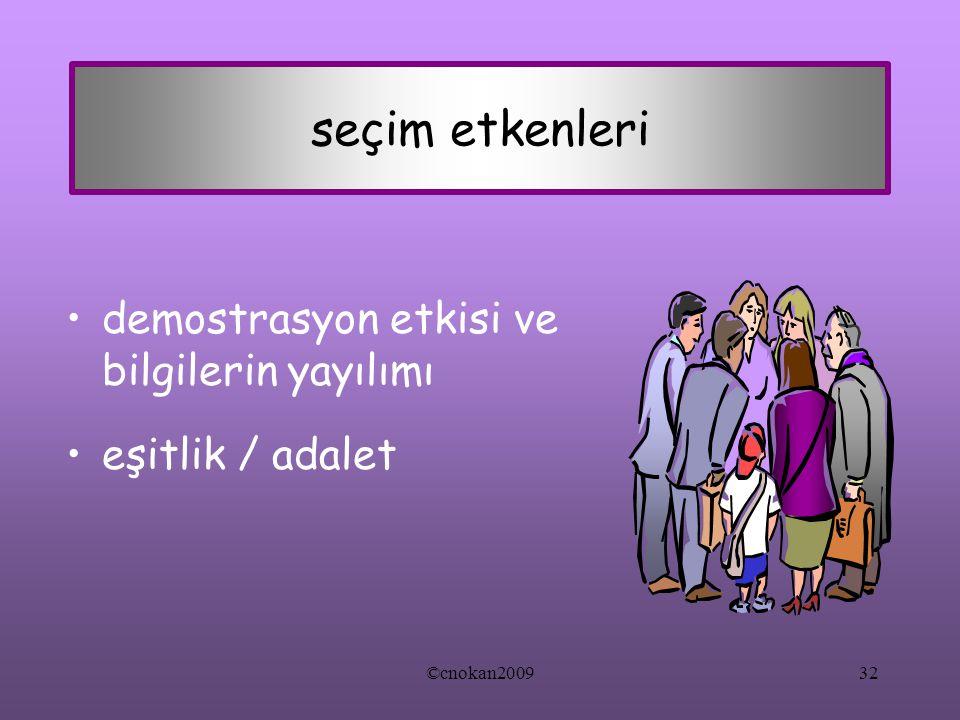 seçim etkenleri demostrasyon etkisi ve bilgilerin yayılımı eşitlik / adalet ©cnokan200932
