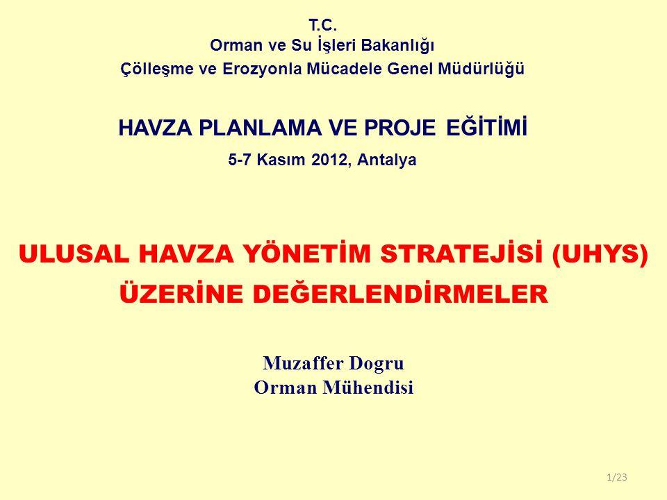 T.C. Orman ve Su İşleri Bakanlığı Çölleşme ve Erozyonla Mücadele Genel Müdürlüğü HAVZA PLANLAMA VE PROJE EĞİTİMİ 5-7 Kasım 2012, Antalya 1/23 ULUSAL H